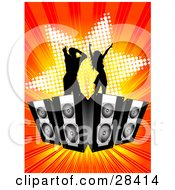 Clipart Illustration Of Two Black Silhouetted Dancers Dancing On Speakers Over A Bursting Orange And Red Background With A Star