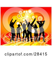 Clipart Illustration Of Black Dancers On A Colorful Road Dancing In Front Of A Cluster Of Circles Over An Orange And Red Background