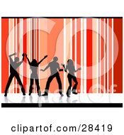 Clipart Illustration Of Four Black Silhouetted Dancers Over A Vertical Striped Red Orange And White Background
