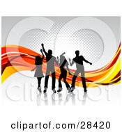 Clipart Illustration Of Four Black Silhouetted Dancers On A White Surface With Waves Of Orange And Red