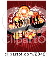 Clipart Illustration Of Black Silhouetted Dancers On A Dripping Black Bar Over A Circle Cluster On A Bursting Red Background
