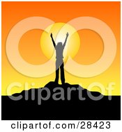 Clipart Illustration Of A Silhouetted Person Standing With Their Arms In The Air On Top Of A Hill Against An Orange Sunrise Or Sunset by KJ Pargeter