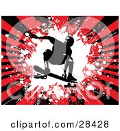 Clipart Illustration Of A Silhouetted Skateboarder Jumping On His Board Over A Bursting Red And Black Grunge Background by KJ Pargeter
