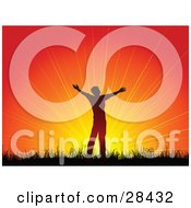 Clipart Illustration Of A Silhouetted Man Holding His Arms Out In Worship Against A Bursting Orange Sunset Or Sunrise by KJ Pargeter