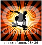 Clipart Illustration Of A Silhouetted Male Skateboarder Leaping Through The Air On His Board Over A Bursting Orange Background