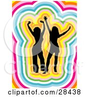 Clipart Illustration Of Two Black Silhouetted Women Dancing Traced By Colorful Outlines