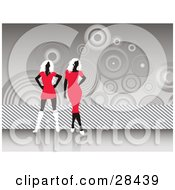 Two Black Faceless Women In Red Dresses And White Shoes Standing Over A Gray Background Of Stripes And Circles