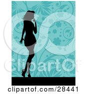 Clipart Illustration Of A Black Silhouetted Woman Standing Over A Floral Blue Background