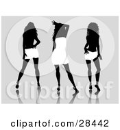 Clipart Illustration Of Three Sexy Black Silhouetted Women Wearing White Dresses And Skirts Posing Over A Gray Background by KJ Pargeter