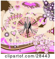 Set Of Silhouetted Women On A Retro Circle Brown And Pink Arrows Bursts And Heart Design Elements