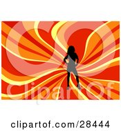Clipart Illustration Of A Black Silhouetted Woman Posing Over A Wavy Red Orange And Yellow Background
