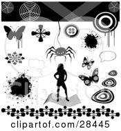 Clipart Illustration Of A Set Of A Silhouetted Woman Splatter Text Bubble Butterflies And Spider Design Elements