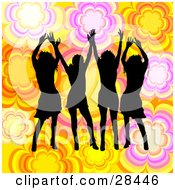 Clipart Illustration Of Four Black Silhouetted Women Dancing Over A Yellow White Orange And Pink Floral Background