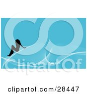 Clipart Illustration Of A Black Silhouetted Woman Seated On White Waves Over A Blue Background