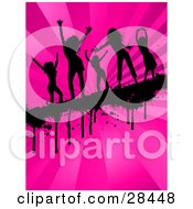 Clipart Illustration Of Five Black Silhouetted Women Dancing On A Dripping Grunge Bar Across A Bursting Pink Background