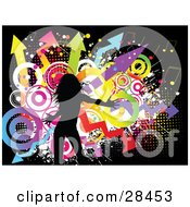 Clipart Illustration Of A Black Silhouetted Woman Dancing Over A Funky Grunge Background Of Colorful Circles Music Notes And Arrows On Black