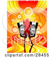 Clipart Illustration Of A Gradient Red Silhouetted Woman Standing On Colorful Waves Of Sound Emerging From Black Speakers Over A Sparkly Orange Background With Circles And Waves