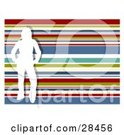 Clipart Illustration Of A White Silhouetted Woman Standing Over A Horizontal Striped Red Green White Blue And Yellow Striped Background