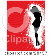 Clipart Illustration Of A Black Silouetted Woman Standing Over A White Grunge Space On A Bursting Red Background