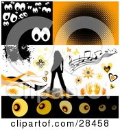 Set Of Spooky Eyes Music Butterflies Bursts Hearts Flames A Woman And Arrows Design Elements