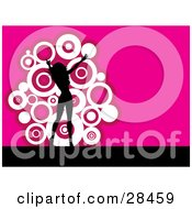 Clipart Illustration Of A Black Silhouetted Woman Dancing Over A Pink Background With A Cluster Of White Circles