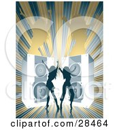 Clipart Illustration Of Two Blue Silhouetted Women Dancing In Front Of Giant Blue Speakers Over A Bursting Brown And Blue Background With Brown Female Silhouettes by KJ Pargeter
