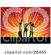 Clipart Illustration Of Three Black Silhouetted Women Dancing Over A Bursting Orange And Red Background With Scattered White Stars