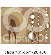 Clipart Illustration Of A Brown Silhouetted Woman Dancing Over A Retro Brown Background With Strings Of White Circles
