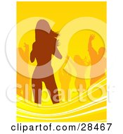 Clipart Illustration Of Orange Silhouetted People Dancing Over A Yellow Background With Waves Along The Bottom