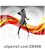 Clipart Illustration Of A Black Silhouetted Woman Wearing Headphones And Dancing Over A Gray Background With Waves Of Orange Red And Yellow by KJ Pargeter