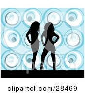 Clipart Illustration Of Two Black Silhouetted Women Standing Over A Retro Blue Background