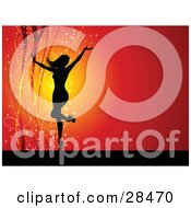Clipart Illustration Of A Black Silhouetted Woman In Heels Dancing With Her Arms Up Over A Red Background With Sparkles And Ribbons