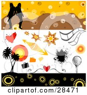 Clipart Illustration Of A Set Of Hearts Bursts Arrows Splatters Film Strips Golf Palm Trees And Women Design Elements by KJ Pargeter