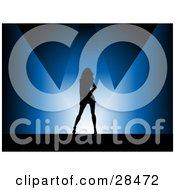 Clipart Illustration Of A Black Silhouetted Woman Posing Under Blue Spotlights