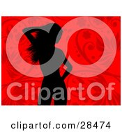 Clipart Illustration Of A Black Silhouetted Woman Standing Over A Red Floral Background