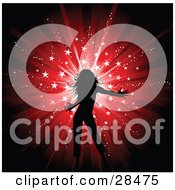Clipart Illustration Of A Silhouetted Black Woman Dancing Over A Bursting Red Background With White Sparkles And Stars