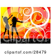 Clipart Illustration Of Two Black Silhouetted Women Dancing Over A Gradient Orange And Red Background With White Spirals And Curls