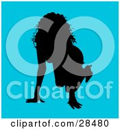 Clipart Illustration Of A Sexy Black Silhouetted Woman Crawling On Her Hands And Knees Over A Blue Background