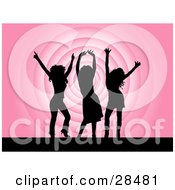 Clipart Illustration Of Three Black Silhouetted Women Dancing Over A Pink Repeating Circle Background
