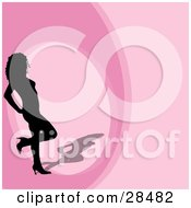 Clipart Illustration Of A Black Silhouetted Woman In Heels Standing On A Pink Background With A Circle