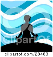 Clipart Illustration Of A Black Silhouetted Woman Meditating On Top Of A Hill Against A Wavy Blue And White Background
