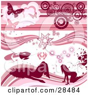 Set Of Pink Silhouetted Women Feet Lipstick Grunge Bursts Circles And Butterfly Design Elements