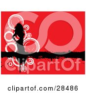 Clipart Illustration Of A Black Silhouetted Woman On A Black Grunge Bar Over A Red Background With White Circles