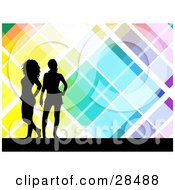 Clipart Illustration Of A Two Black Silhouetted Women Standing Over A Retro Colorful Background With White Lines