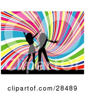 Clipart Illustration Of Two Black Silhouetted Women Dancing Together Over A Spiraling Rainbow Background