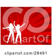 Clipart Illustration Of Two White Silhouetted Women Dancing Over A Bursting Red Background