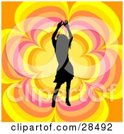 Clipart Illustration Of A Black Silhouetted Woman Dancing Over An Orange Yellow And Pink Floral Background