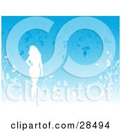 Clipart Illustration Of A White Silhouetted Woman Walking Through Tall Plants And Leaves Over A Blue Background