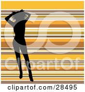 Clipart Illustration Of A Sexy Black Silhouetted Woman Holding Up Her Hair And Standing Over A Horizontal Striped Orange Brown And White Background