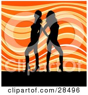 Clipart Illustration Of Two Black Silhouetted Women In Heels Standing Over A Wavy Orange Background
